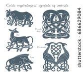 ancient celtic mythological... | Shutterstock .eps vector #686629084