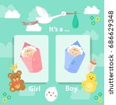 baby boy and baby girl cards.... | Shutterstock .eps vector #686629348