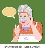 grandmother gesture.granny old... | Shutterstock .eps vector #686629504