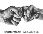 clash of two fists on white ... | Shutterstock . vector #686630416