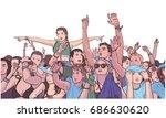 illustration of mixed ethnic... | Shutterstock .eps vector #686630620