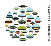 ufo cartoon icons set on circle.... | Shutterstock .eps vector #686639560