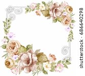 beautiful card with watercolor... | Shutterstock . vector #686640298