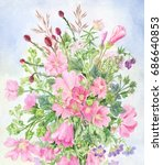 pink wildflowers. field bouquet ... | Shutterstock . vector #686640853