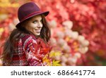 woman in coat with hat and... | Shutterstock . vector #686641774