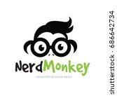 nerd monkey logo template. | Shutterstock .eps vector #686642734