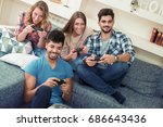 group of friends relaxing and... | Shutterstock . vector #686643436