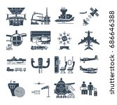set of black icons airport and... | Shutterstock .eps vector #686646388