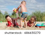 three children  two boys and... | Shutterstock . vector #686650270