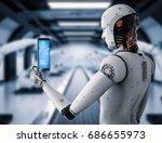 3d rendering android robot... | Shutterstock . vector #686655973