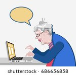 grandmother with the computer... | Shutterstock .eps vector #686656858