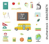 set of flat school items and... | Shutterstock .eps vector #686658874