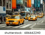 nyc cabs taxi new york  america ... | Shutterstock . vector #686662240