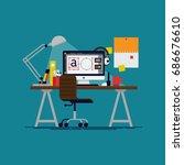 flat vector graphic designer... | Shutterstock .eps vector #686676610