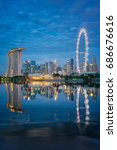 vertical view of singapore... | Shutterstock . vector #686676616