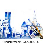 beautiful modern city with... | Shutterstock . vector #686680018