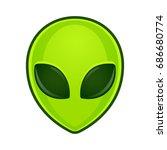 green alien face emoji.... | Shutterstock . vector #686680774