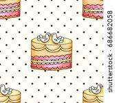 cake with polka dotsseamless... | Shutterstock .eps vector #686682058