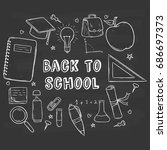 hand drawn school supplies... | Shutterstock .eps vector #686697373