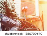 the worker repairs or prevents... | Shutterstock . vector #686700640