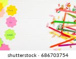 colorful pencils and felt tip...   Shutterstock . vector #686703754