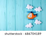orange craft helicopter and... | Shutterstock . vector #686704189