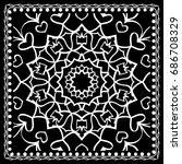 black and white paisley bandana ... | Shutterstock .eps vector #686708329