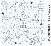 back to school doodles. hand... | Shutterstock .eps vector #686711128