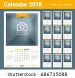 wall calendar for 2018 year....   Shutterstock .eps vector #686715088