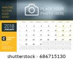 january 2018. desk calendar for ...   Shutterstock .eps vector #686715130