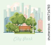 city park vector illustration... | Shutterstock .eps vector #686716783