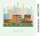 suburb vector illustration in...   Shutterstock .eps vector #686717989