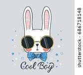 cute rabbit. cool bunny boy | Shutterstock .eps vector #686718148