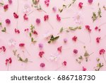 pink flowers  on a pink... | Shutterstock . vector #686718730