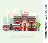 fire statsion building vector... | Shutterstock .eps vector #686721628