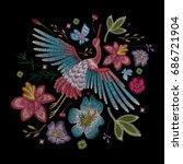 crane bird  flowers  rose  rose ...   Shutterstock .eps vector #686721904