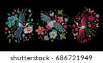 crane bird  flowers  rose  rose ... | Shutterstock .eps vector #686721949