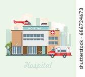 hospital building vector... | Shutterstock .eps vector #686724673