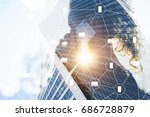 backlight  rear view  business... | Shutterstock . vector #686728879