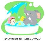 Little Cute Girl Take A Bath...