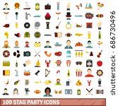 100 stag party icons set in... | Shutterstock . vector #686730496