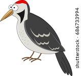 cute cartoon woodpecker. vector ... | Shutterstock .eps vector #686733994