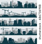 industrial skyline set. uraban... | Shutterstock .eps vector #686736988