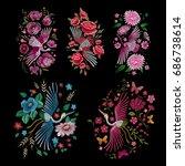 crane bird  flowers  rose  rose ...   Shutterstock .eps vector #686738614