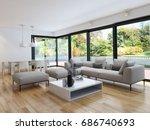 modern bright living room ... | Shutterstock . vector #686740693