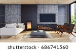 modern bright living room ... | Shutterstock . vector #686741560