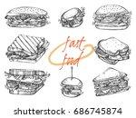 vector set of hand drawn... | Shutterstock .eps vector #686745874