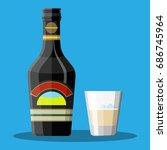 bottle of chocolate coffee... | Shutterstock .eps vector #686745964