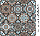 seamless pattern. vintage... | Shutterstock .eps vector #686747626