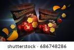 potato chips ads. vector... | Shutterstock .eps vector #686748286